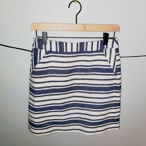 Banana Republic Navy and White Striped Skirt